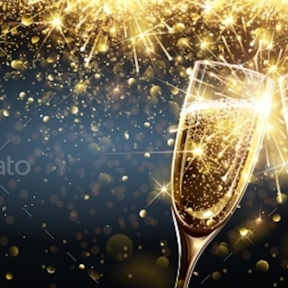 Champagne with Firework Effect Explosion