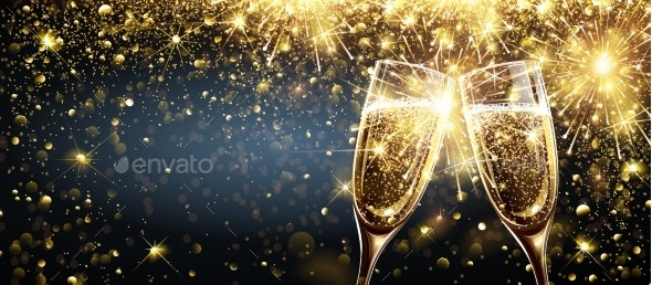 Champagne with Firework Effect Explosion - New Year Seasons/Holidays