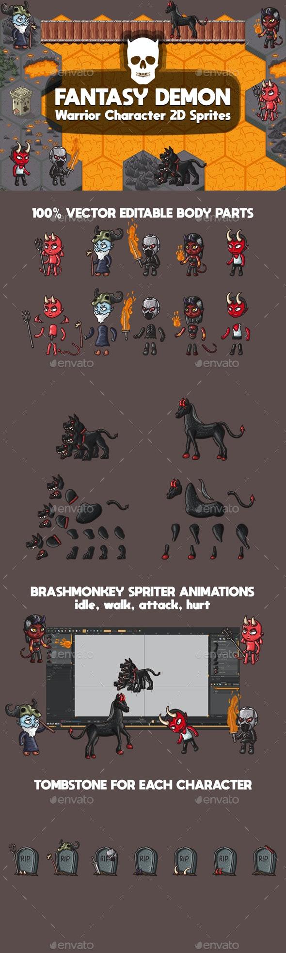 Demon Warrior Character Sprites - Sprites Game Assets