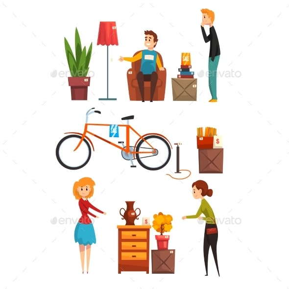 People Buying and Selling Items at a Garage Sale - Man-made Objects Objects