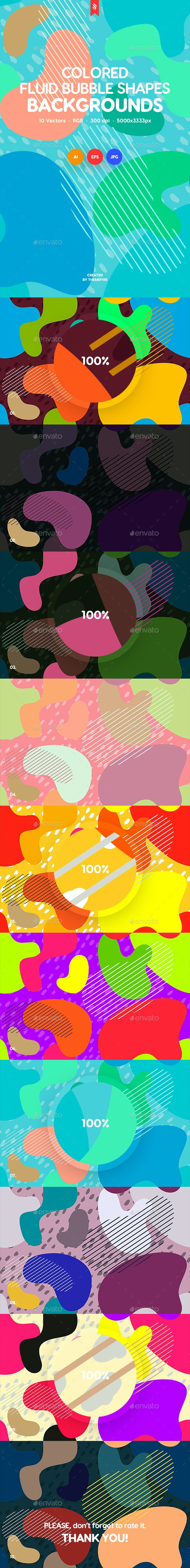 Colored Fluid Bubble Shapes Tileable Backgrounds - Abstract Backgrounds