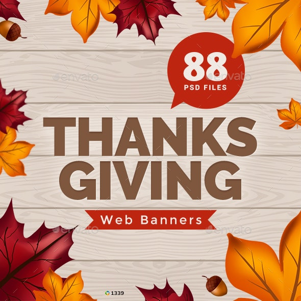 Thanksgiving Banner Set Bundle - 5 Sets - 88 Banners - Banners & Ads Web Elements