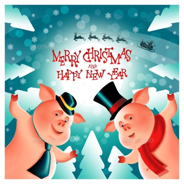 Two Cheerful Little Piggies Chinese New Year - Christmas Seasons/Holidays