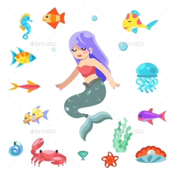 Cute Little Mermaid Swimming Under the Sea Fishes - Animals Characters