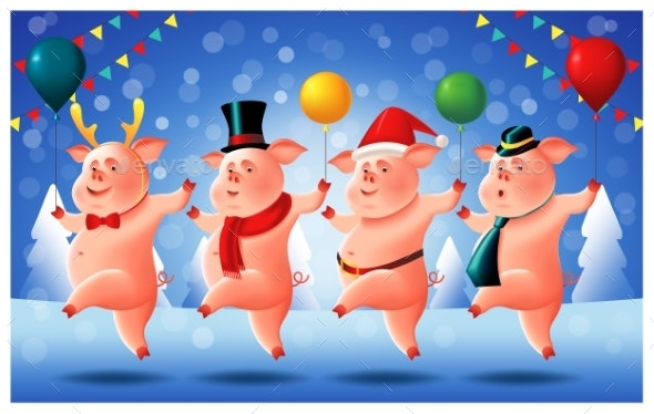 Four Cheerful Little Piggies Chinese New Year - New Year Seasons/Holidays