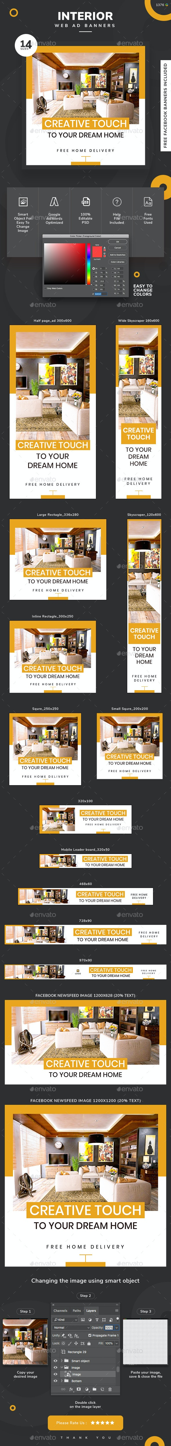 Interior Design Web Banner Set - Banners & Ads Web Elements