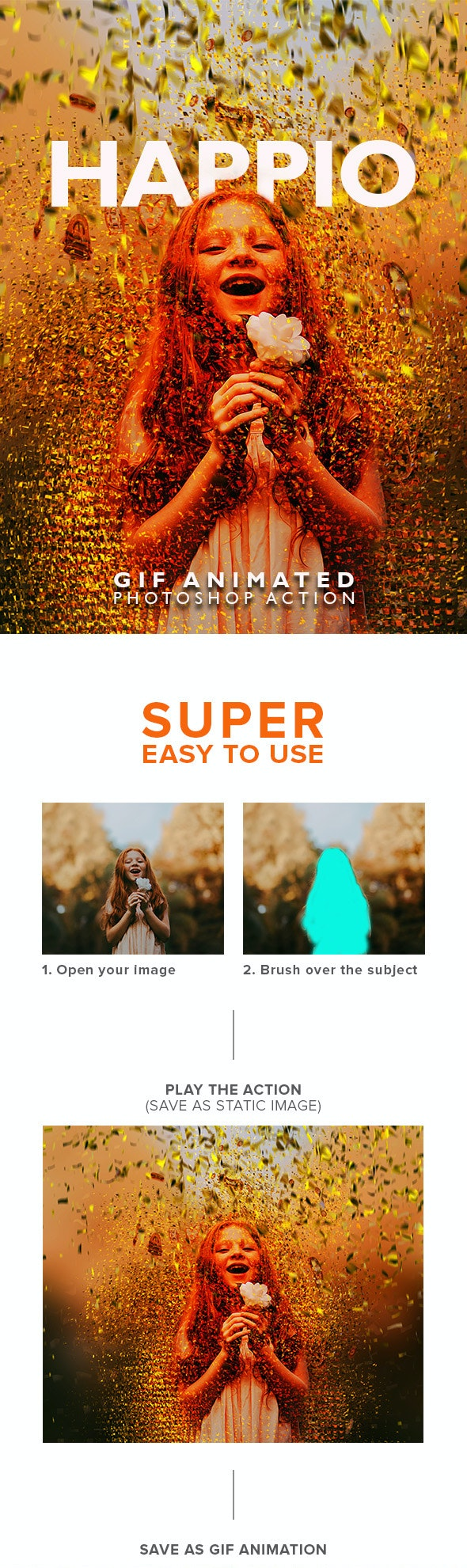 Gif Animated Happio Photoshop Action - Photo Effects Actions