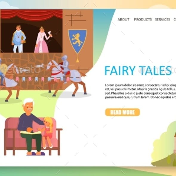 Fairy Tales Landing Page Website Vector Template