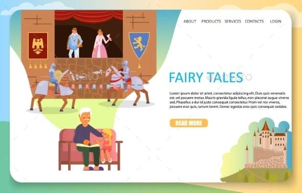Fairy Tales Landing Page Website Vector Template - Web Elements Vectors