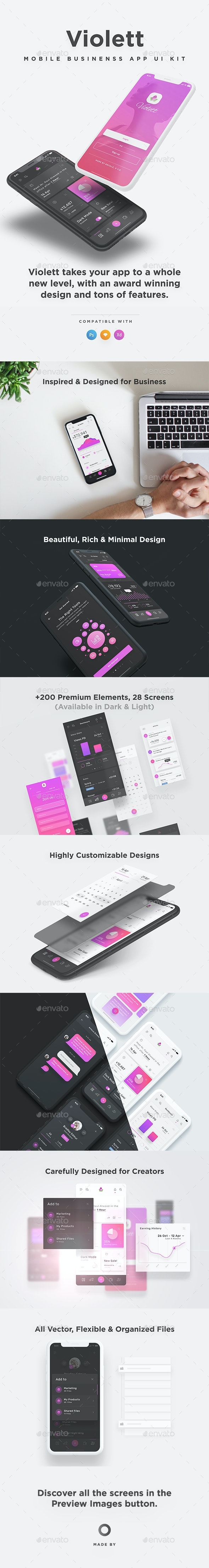 Violett - Mobile Business & Dashboard App UI Kit for - User Interfaces Web Elements