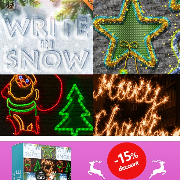 10 in 1 Christmas Photoshop Actions Bundle