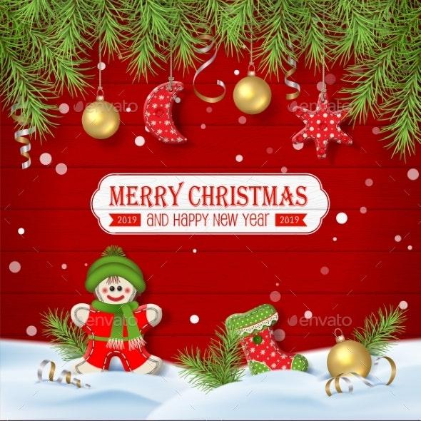 Christmas Background with Ornaments - Christmas Seasons/Holidays