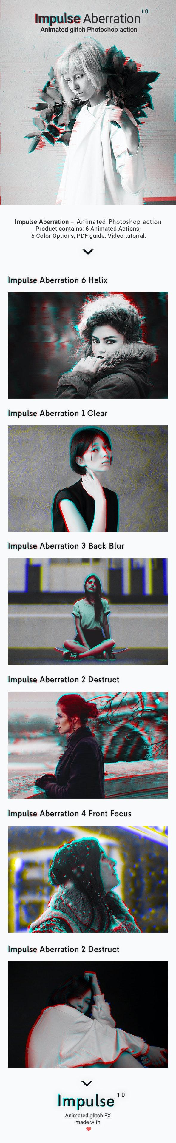 Animated Glitch - Impulse Aberration - Photo Effects Actions
