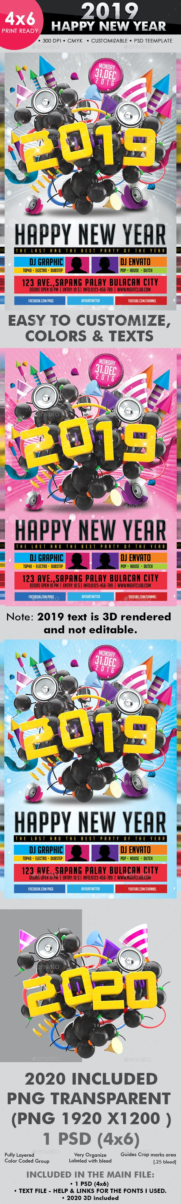 2019 Happy New Year Flyer Template - Clubs & Parties Events