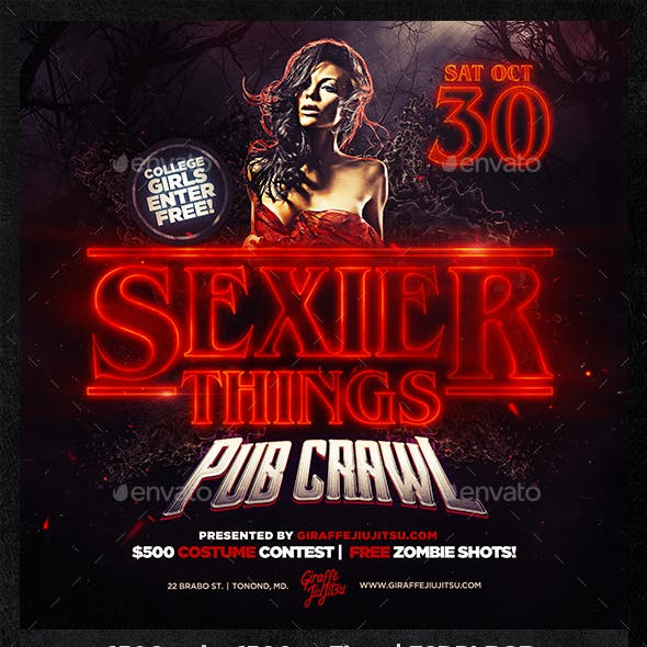 Sexier Things Pub Crawl Web Flyer Template