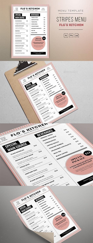 Stripes Menu Resto Template - Restaurant Flyers