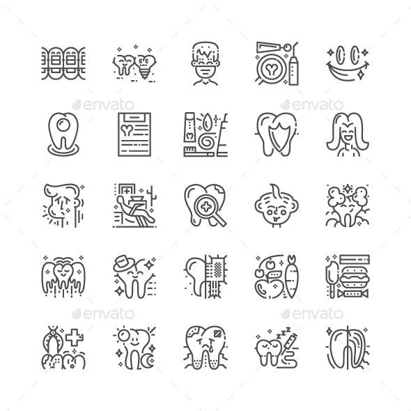 Dental Line Icons - Web Icons
