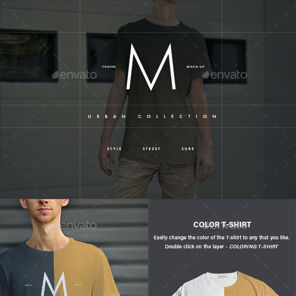 12 Mock-Ups Men's T-Shirt (6 Urban and 6 Studio Isolated)