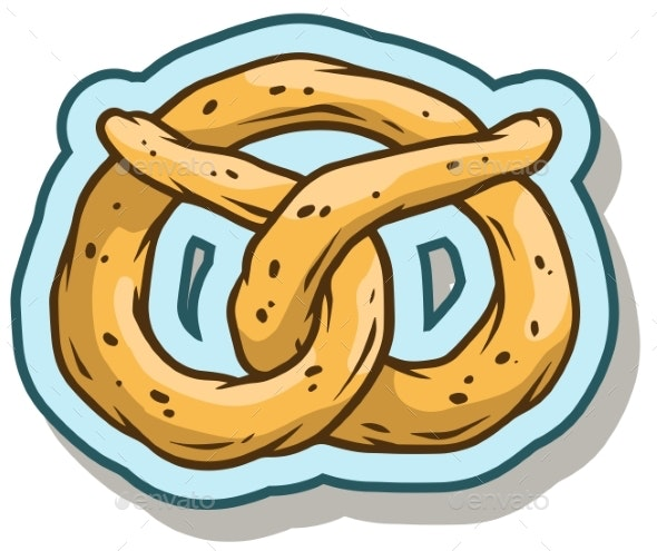 Cartoon Pretzel Vector Sticker Icon - Food Objects