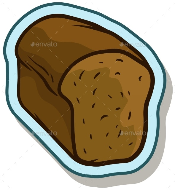 Cartoon Rye Bread Vector Sticker Icon - Food Objects