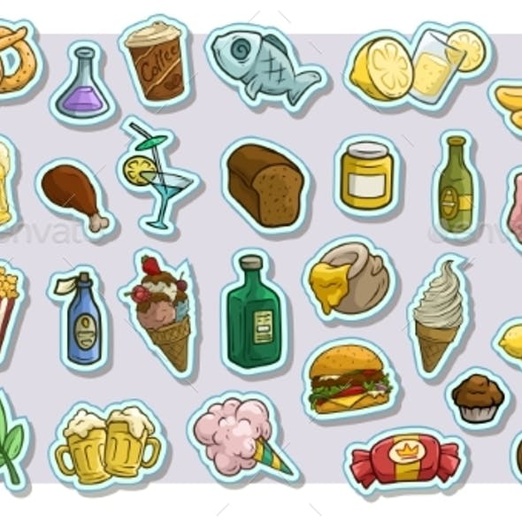 Cartoon Fast Food and Drinks Vector Icon Stickers