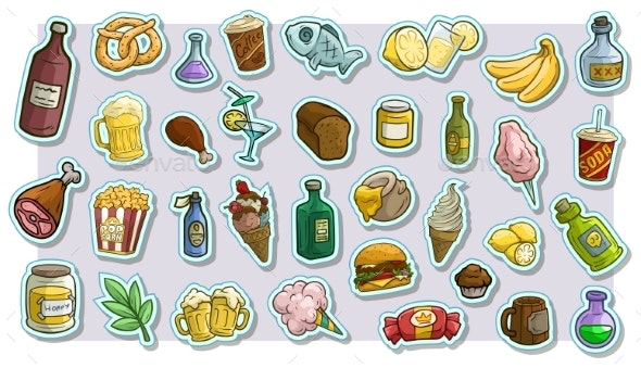 Cartoon Fast Food and Drinks Vector Icon Stickers - Food Objects