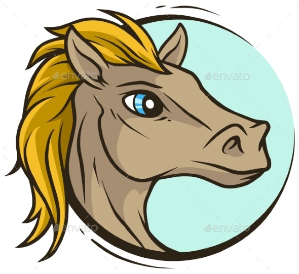Cartoon Handsome Horse Head Vector Icon - Animals Characters