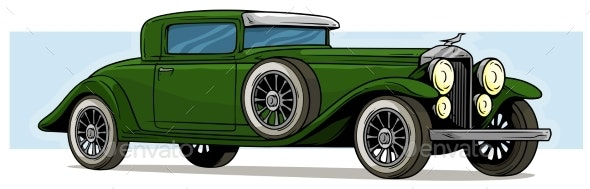 Cartoon Retro Vintage Luxury Green Car Vector Icon - Man-made Objects Objects