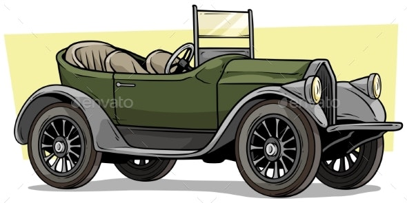 Cartoon Retro Vintage Luxury Convertible Car - Man-made Objects Objects