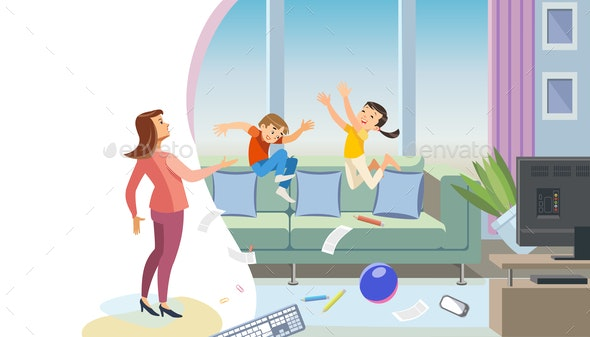 Mother Scolding Naughty Children Vector Concept - People Characters