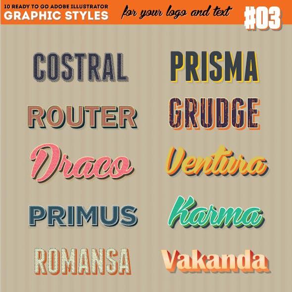 10 Illustrator Graphic Style - Retro Style Set Vol.3