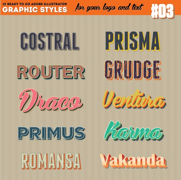 10 Illustrator Graphic Style - Retro Style Set Vol.3 - Styles Illustrator