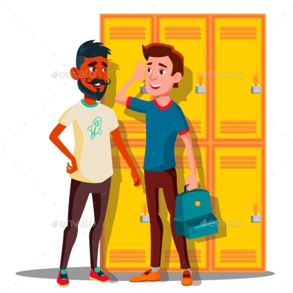 Teenagers Near Lockers In College Vector. Isolated - People Characters