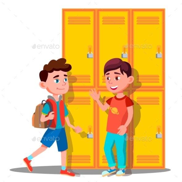 Teenagers Near Lockers In School Vector. Isolated