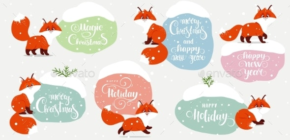 Fox Set Winter Stickers - Christmas Seasons/Holidays