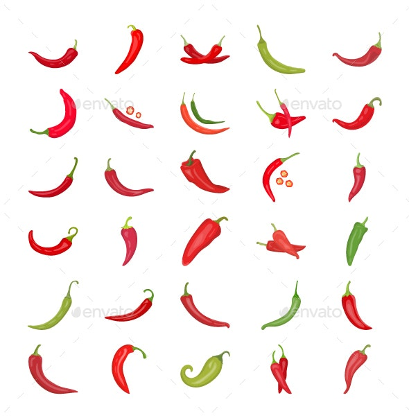 30 Chili Pepper Vector Icons - Icons