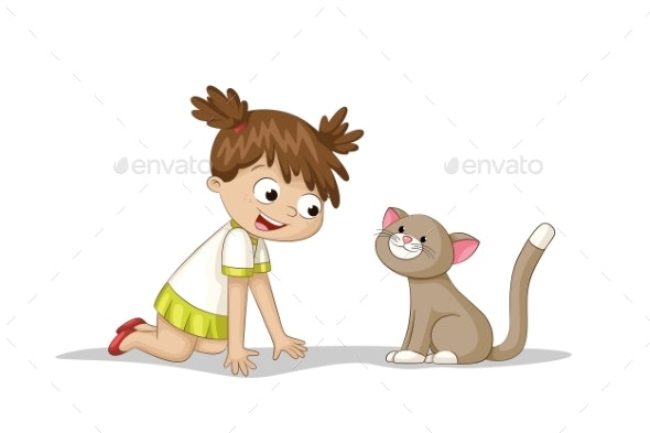Girl is Playing With a Cat - People Characters