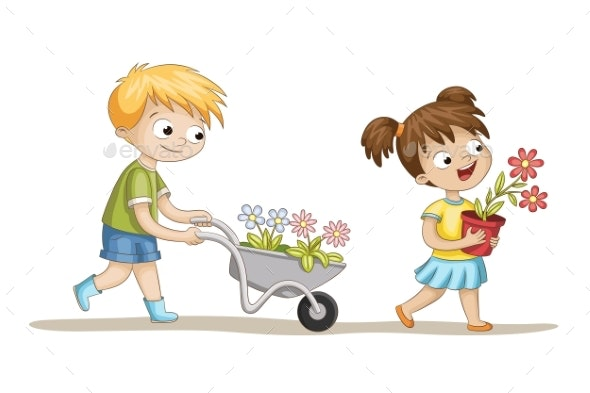Two Kids With Flowers - People Characters