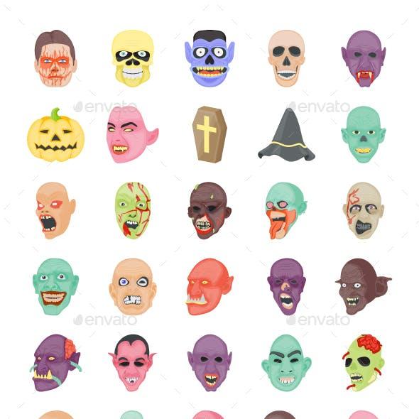 55 Flat Halloween icons