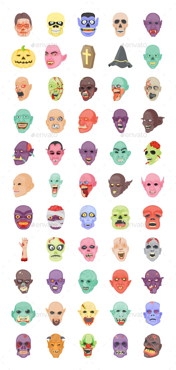 55 Flat Halloween icons - Icons