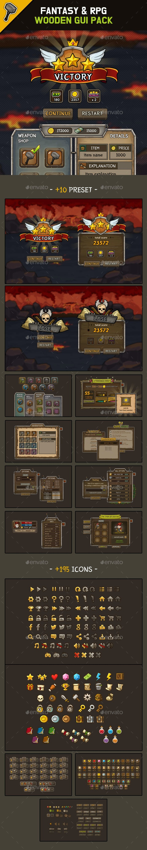 Fantasy Wooden GUI : Package - User Interfaces Game Assets
