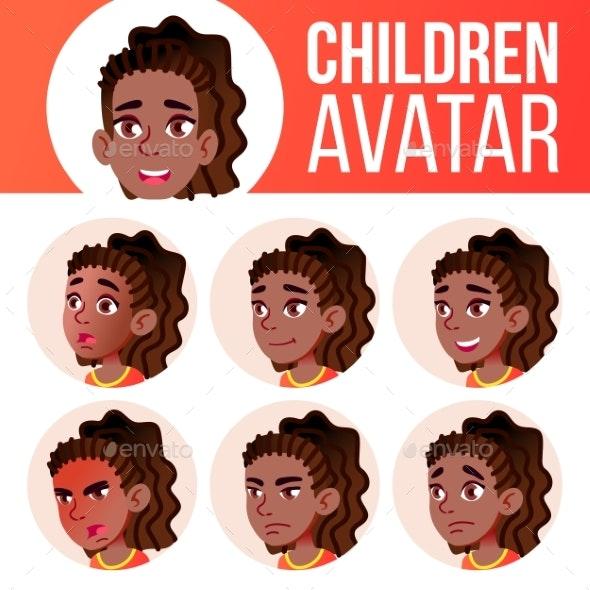 Girl Avatar Set Kid Vector. Black. Afro American - People Characters