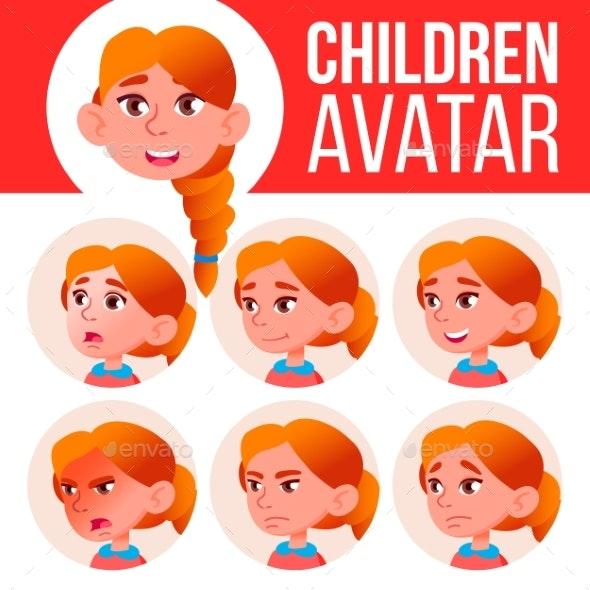 Girl Avatar Set Kid Vector. Redhead. High School - People Characters