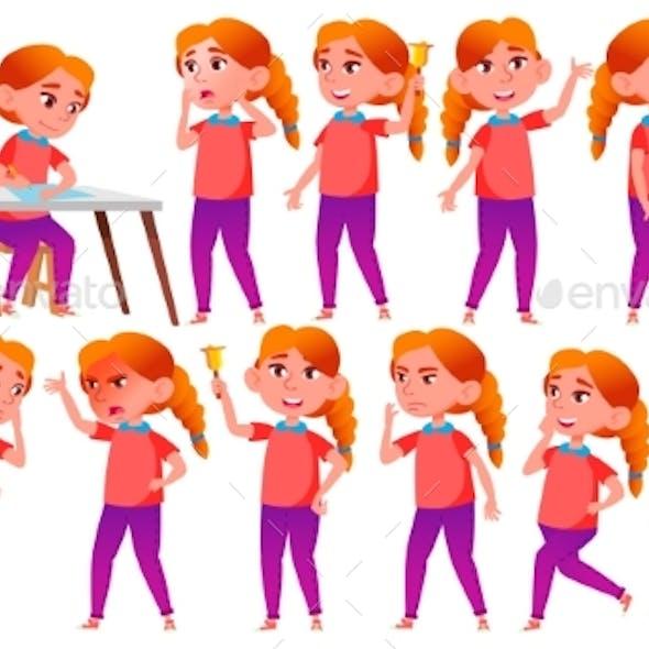 Girl Schoolgirl Kid Poses Set Vector. Redhead