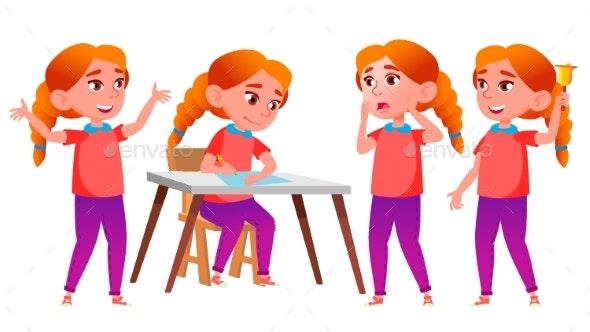 Girl Schoolgirl Kid Poses Set Vector. Redhead - People Characters