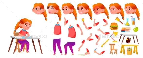 Girl Schoolgirl Kid Vector. Redhead. High School - People Characters