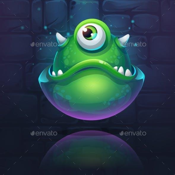 Vector Cartoon Illustration Green Monster