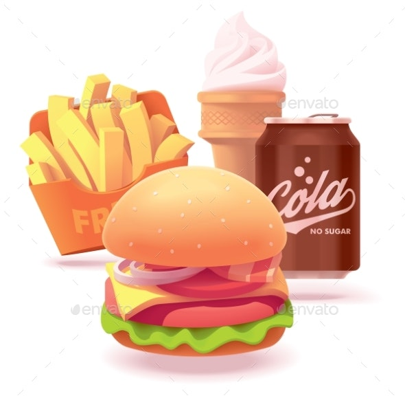 Vector Burger Set Illustration or Icon - Food Objects