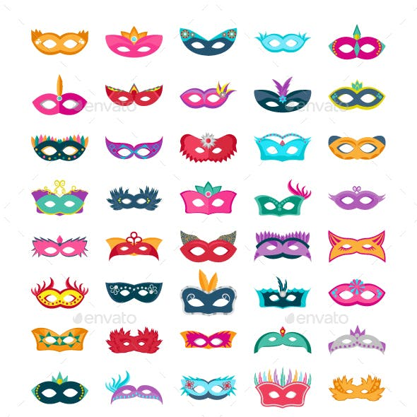 60 Face Mask Flat Vector Icons
