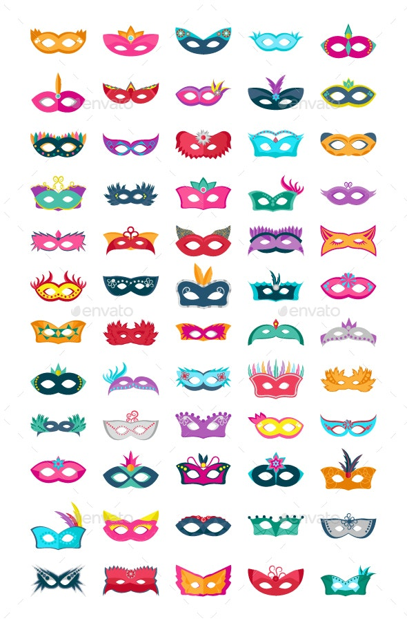 60 Face Mask Flat Vector Icons - Icons